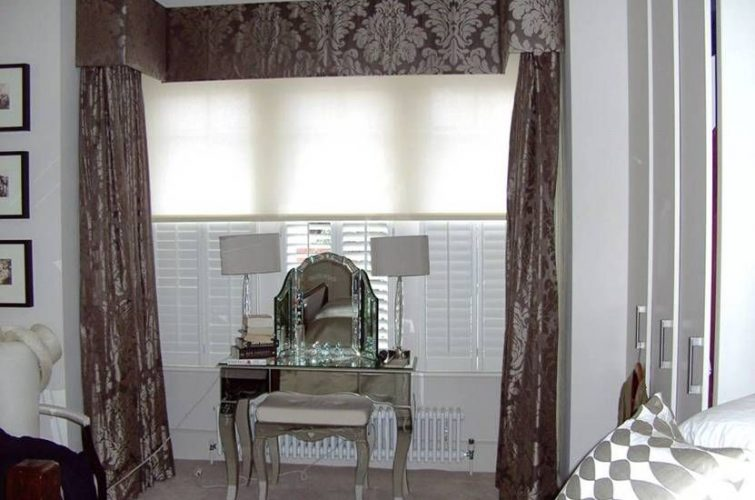 Contemporary blackout bedroom curtains on a square bay